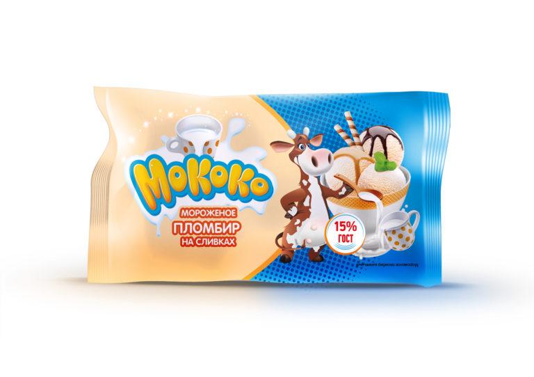 мороженое Мококо пломбир ванильный 350 палено